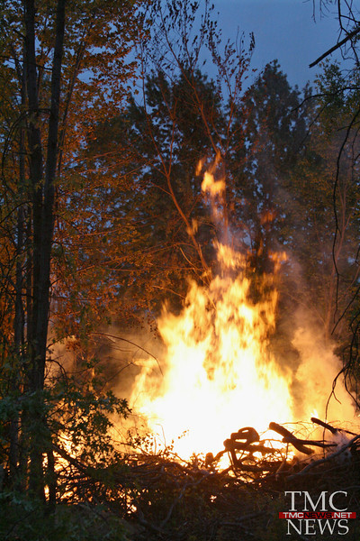 FIRE DEEP IN THE WOODS IN SHEFFIELD TOWNSHIP